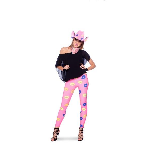 Legging Zoenen Lippen roze Gr. 36 - 38