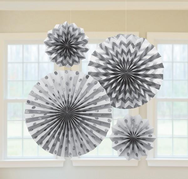 4 silver spark paper rosettes