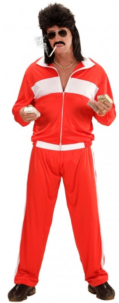Red 80s jogging suit for men