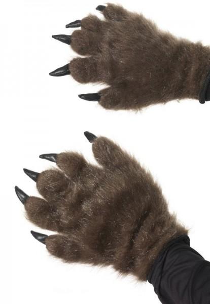 Pelzige Werwolf Klauen Handschuhe Braun