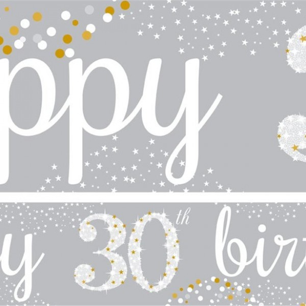 30th birthday paper banners 3 pieces 1m