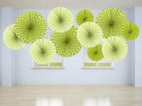 3 Muster Mix Papierrosetten apfelgrün