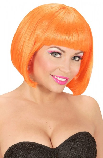 UV Neon-Orangefarbene Damenperücke