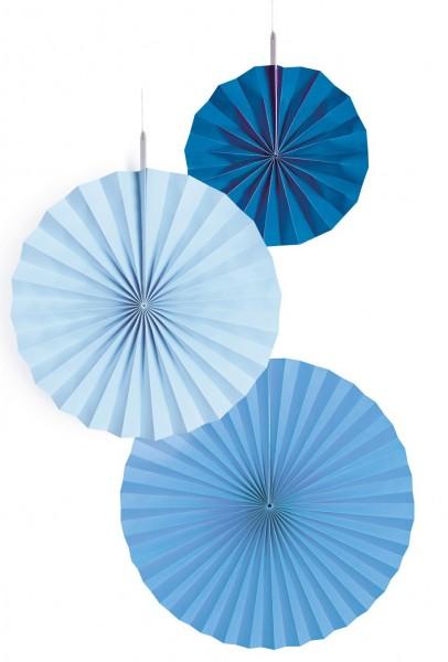 3 Shiny Blue Papierrosetten