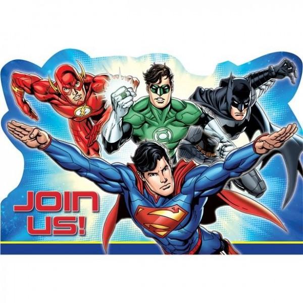 8 Justice League Superhelden Einladungskarten