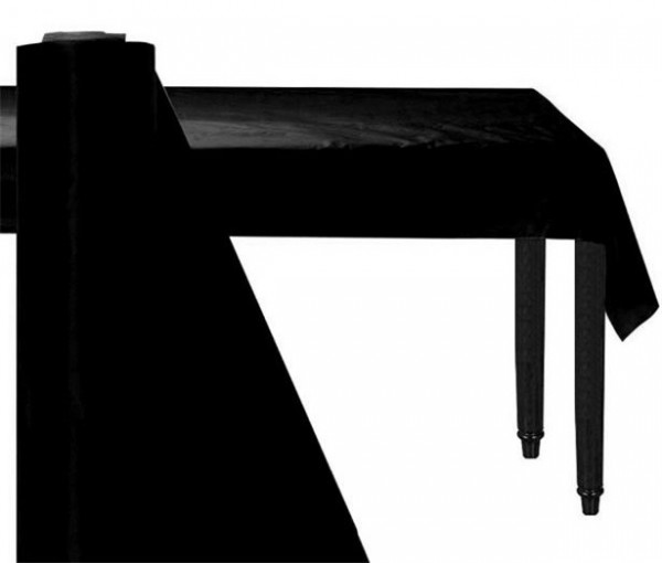 Zwart plastic bankettafel rol 76m