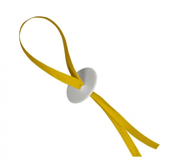 50 gelbe Ballonverschlüsse mit Band