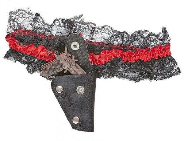 Lacy garter with mini gun