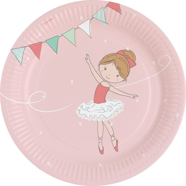 8 małych talerzy baleriny 23 cm