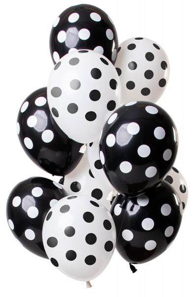 12 latex ballonnen punten zwart en wit