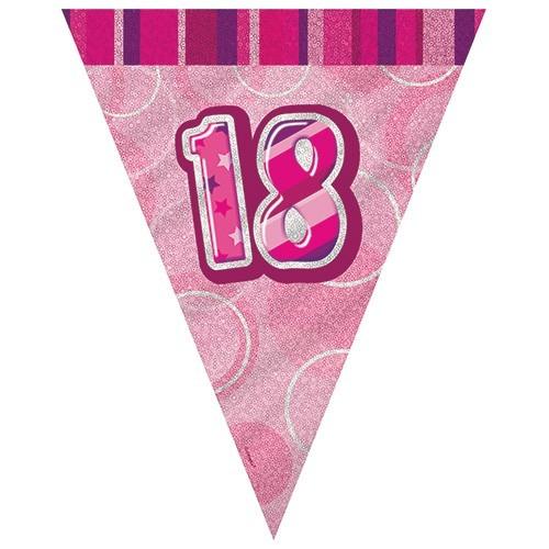 18. Geburtstag Glitzernde Wimpelkette Pink