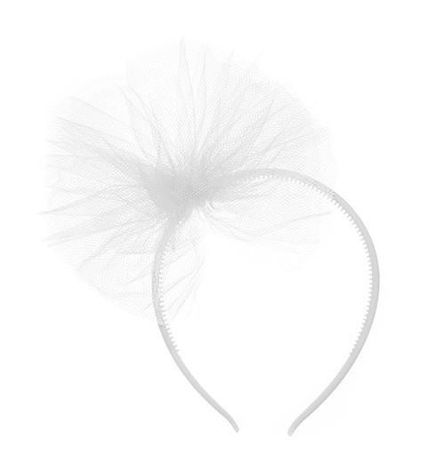 Haarreif Weiß Mit Schleife Aus Tüll