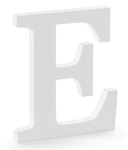 Lettre en bois E blanc 17 x 20cm