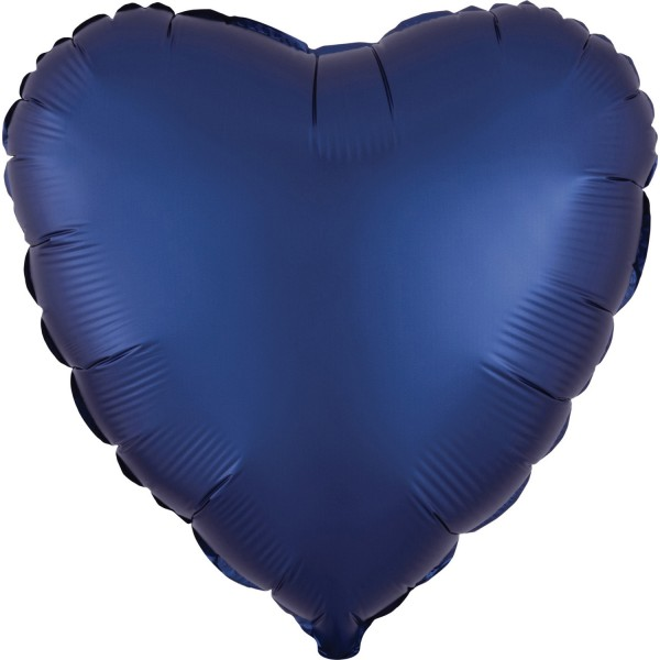 Satin heart balloon royal blue 43cm