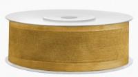 25m Geschenkband Gold Chiffon mit Satinecken