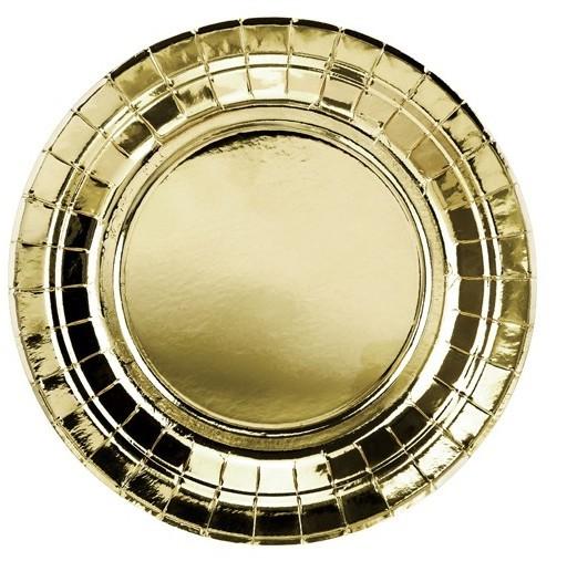 6 platos de papel metalizado dorado 18cm