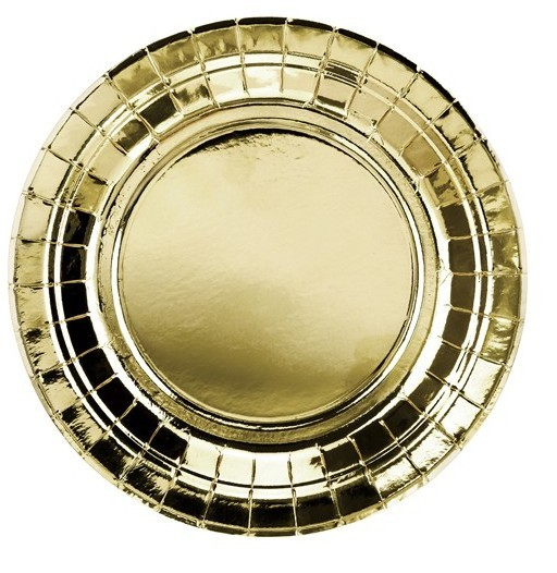 6 gold metallic paper plates 18cm