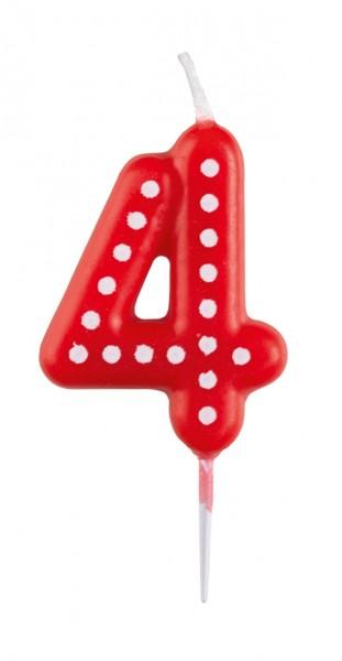 Verjaardagsfeestje kleurrijke cijfer kaars 4 met stippen ...