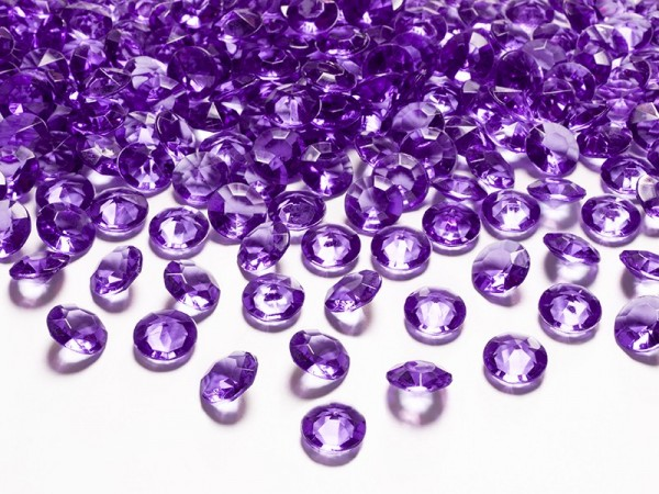 100 scattered diamonds violet 1.2cm