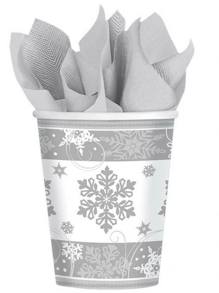8 gobelets en papier terre flocons de neige 266ml