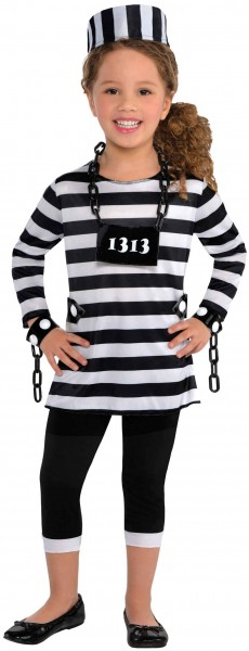 Kleiner Sträfling Gefangenenkostüm für Mädchen