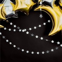 Vorschau: Silber metallic Sternen Girlande 3,6m