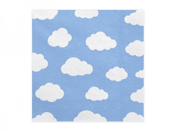 20 himmelblaue Servietten mit Wolken 1