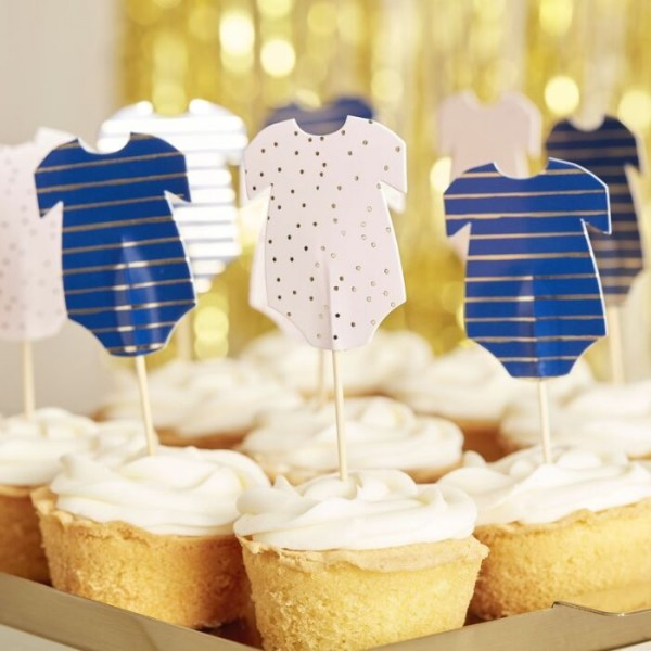 12 Gender Reveal Baby Shower Rompers Cake Skewers