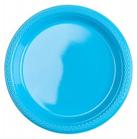 20 Plastik-Teller in Azurblau 17,7cm