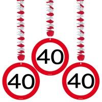 3 Verkehrsschild 40 Spiralhänger 75cm