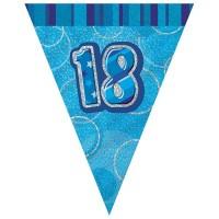18. Geburtstag Glitzernde Wimpelkette Blau