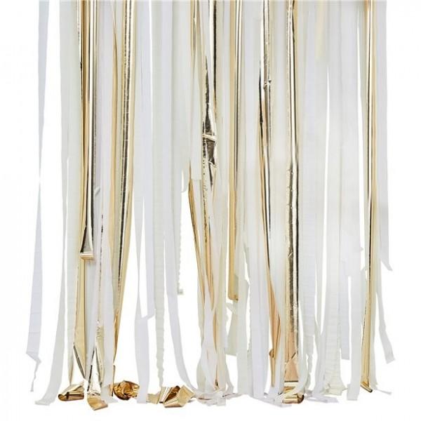 Złoto-biała zasłona z frędzlami DIY