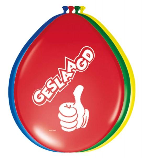 8 Mehrfarbige Geslaagd Luftballons 30cm