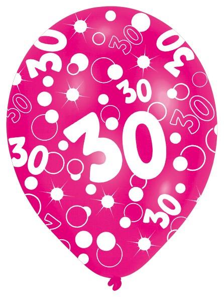6 ballons Bubbles 30e anniversaire colorés 27,5cm