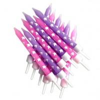 12 Einhorn Tortenkerzen in lila und pink