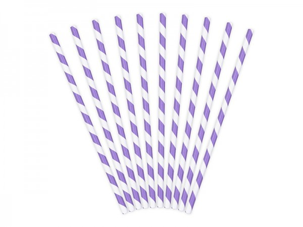 10 striped paper straws purple 19.5 cm