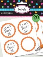 20 self-adhesive labels with orange flower border