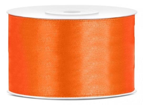 Cinta de raso de 25 m naranja 38 mm de ancho