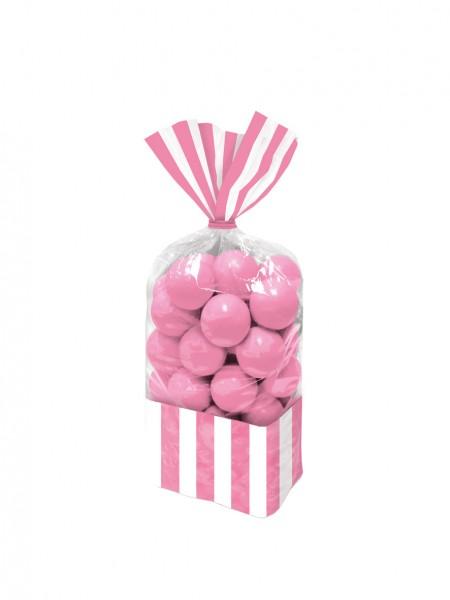 10 sacs buffet de bonbons à rayures rose clair