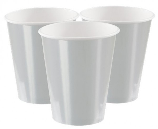 8 vasos de papel plateados Aurora 355ml