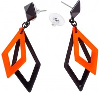 Rauten Neon Ohrringe Schwarz Orange