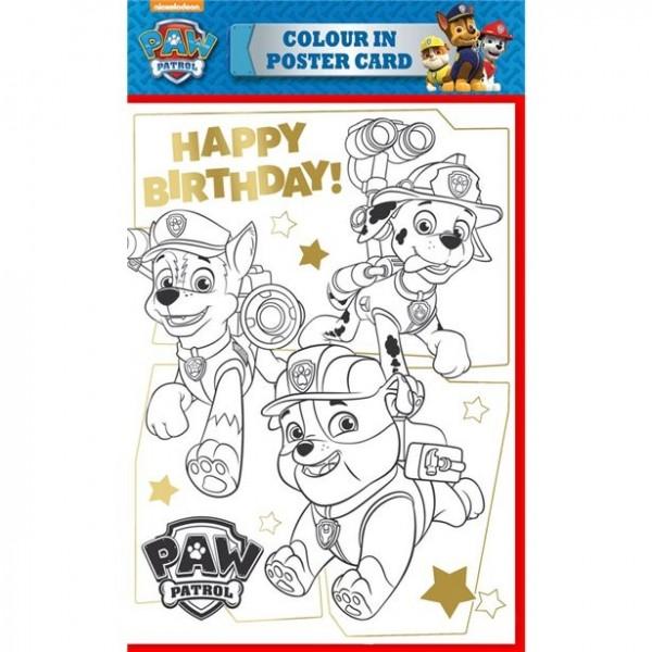 Paw Patrol Happy Birthday farvelægningskort