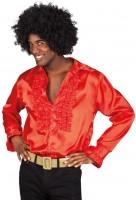 Rotes Herren Rüschenhemd