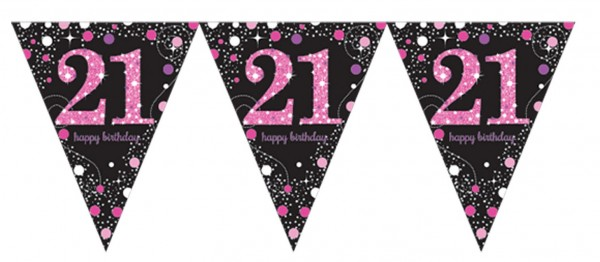 Pink 21st Birthday pennant chain 3.96m