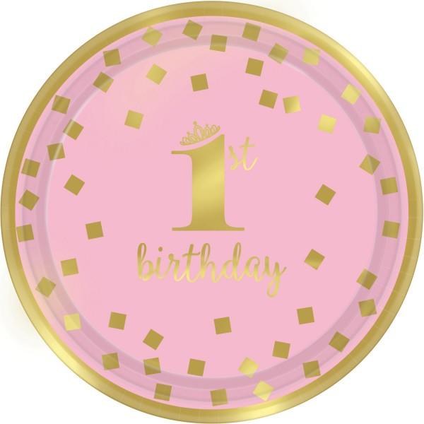 8 Pinkstar 1st Birthday Teller 18cm