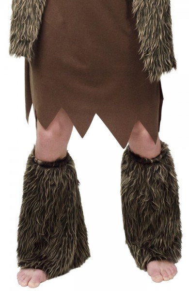 Gantelets en fourrure d'homme des cavernes marron