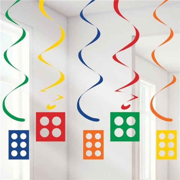 5 colorful building blocks spiral hangers 99cm