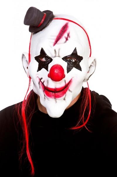 Smerig clown-latexmasker met hoed