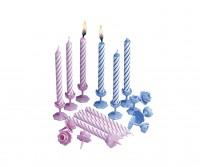 12 Rosy Birthday Tortenkerzen Inklusive Halterung 7,5cm