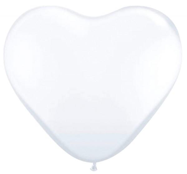 8 heart balloons white 30cm